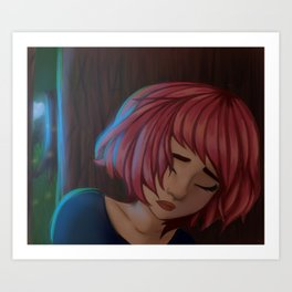 girl with colored hair Art Print