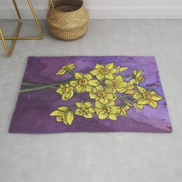 Jonquils - Watercolor and Ink artwork Rug