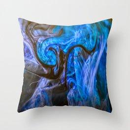 fluid blue and black Throw Pillow