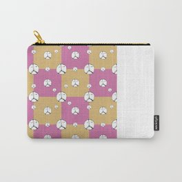Symbol Peace Drawing Checked Pattern Carry-All Pouch