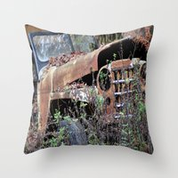 jeep Throw Pillows featuring Vintage Jeep by Victoria Rushie
