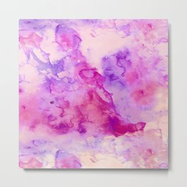 Modern abstract pink purple watercolor wash paint Metal Print
