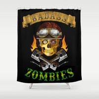 zombies Shower Curtains featuring Badass Zombies by Ferguccio