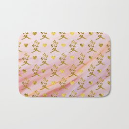 Gold Chinese Love symbol on rose marble Bath Mat