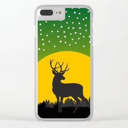 Deer Stars Moon Clear iPhone Case