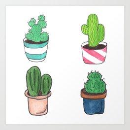 1 Cactus, 2 Cacti, 3 Cacti Four- Watercolor Design Art Print