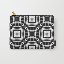 Black and White Geometric Monochrome Pattern Carry-All Pouch