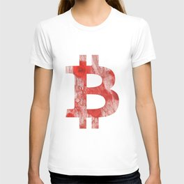 Bitcoin Red Pink streaked wash drawing T-shirt