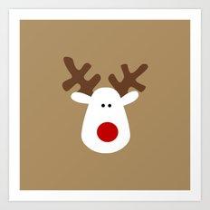 Christmas Reindeer-Brown Art Print
