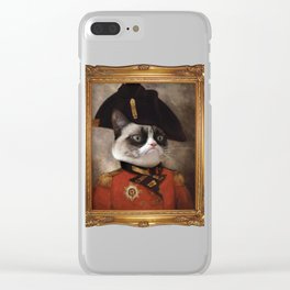 Angry cat. Grumpy General Cat. Clear iPhone Case