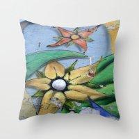 leah flores Throw Pillows featuring FLORES by María Massó