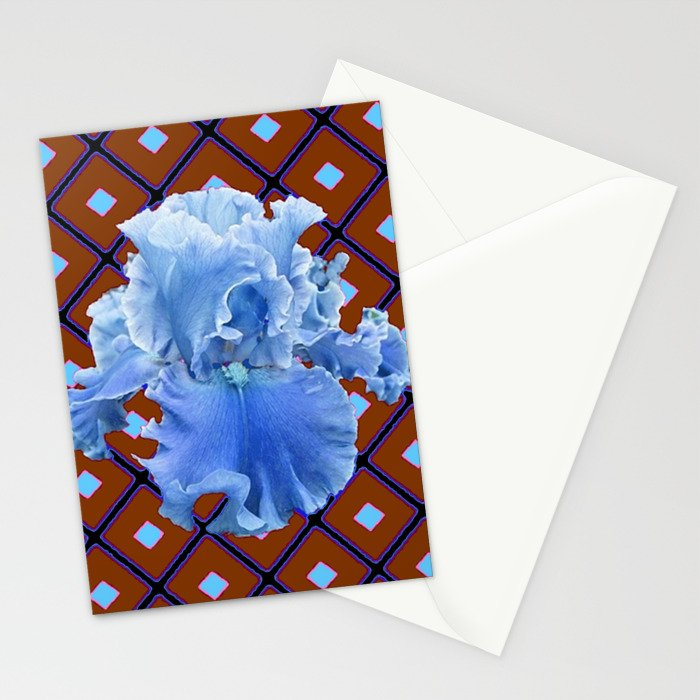 Chocolate Brown & Blue Iris Pattern Art Stationery Cards
