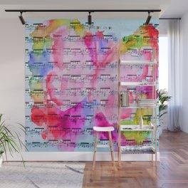 Watercolor Butterfly Sheet Music Pink Wall Mural