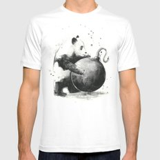 Panda Boom White LARGE Mens Fitted Tee