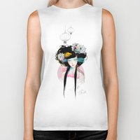 ariana grande Biker Tanks featuring Nenufar Girl by Ariana Perez