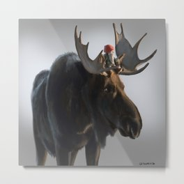 Winter Gnome on Moose Metal Print