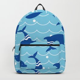Dolphins on the Sea Wave_E02 Backpack