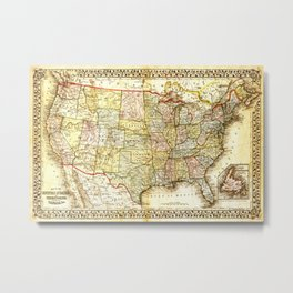 1867 USA Map Metal Print