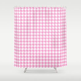 Rose Quartz Houndstooth Shower Curtain