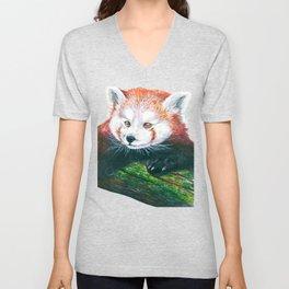 Red panda bear Unisex V-Neck