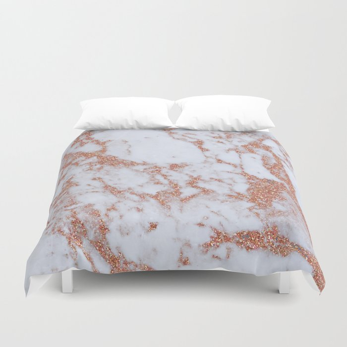 Intense Rose Gold Marble Duvet Cover By Marbleco Society6
