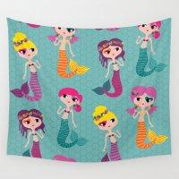 mermaids Wall Tapestries featuring Merry Mermaids by Wendy Taveira