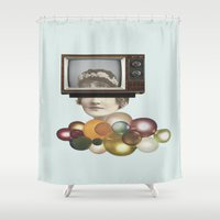 tv Shower Curtains featuring Glamorous Television by Jaume Serra/Collage