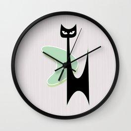 Mid Century Atomic Boomerang Cat Wall Clock