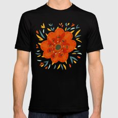 Decorative Whimsical Orange Flower Black MEDIUM Mens Fitted Tee