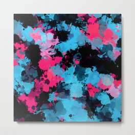 Pink and Blue Paint Splatter Metal Print