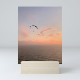 Photograph of a Paraglider at Sunset Mini Art Print