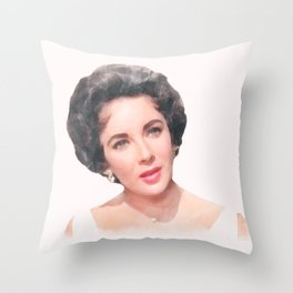 Elizabeth Taylor - Cat on a Hot Tin Roof - Watercolor Throw Pillow