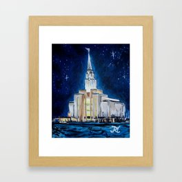 Oquirrh Mountain Utah LDS Temple Framed Art Print