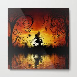Cute fairy playing music in the sunset Metal Print
