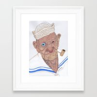 popeye Framed Art Prints featuring Old Popeye by Delineatas