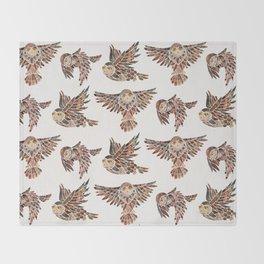 Owls in Flight – Brown Palette Throw Blanket