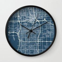 Oklahoma City Blueprint Street Map, Oklahoma City Colour Map Prints Wall Clock