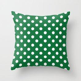 Polka Dots (White & Dark Green Pattern) Throw Pillow