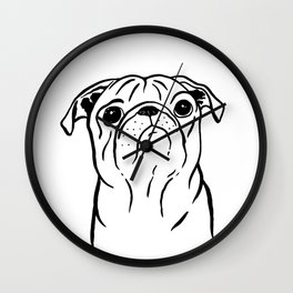 Pug (Black and White) Wall Clock