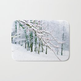 Snowy Branch In The French Alps Bath Mat