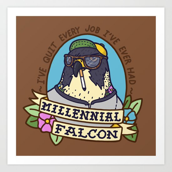 Millennial Falcon Art Print
