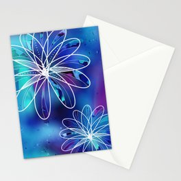 Abstract Blue Galaxy Flowers Stationery Cards