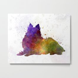 Long Haired Collie in watercolor Metal Print