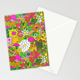 60's Groovy Garden in Lime Green Stationery Cards