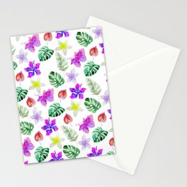 Pink violet green watercolor hand painted hibiscus floral Stationery Cards