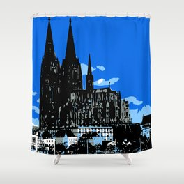 Koeln Cologne retro vintage style travel advertising Shower Curtain