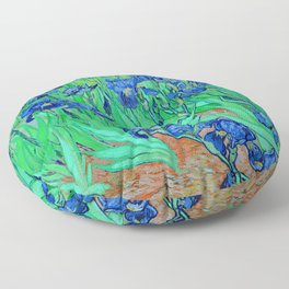 Van Gogh Blue Irises at St. Remy Floor Pillow
