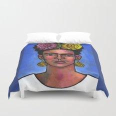 Frida on Blue Background Duvet Cover