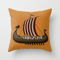 vikings Throw Pillows featuring Vikings by mangulica illustrations