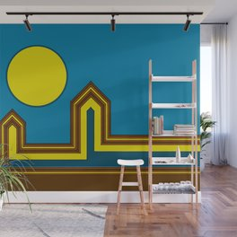 Line Houses with Yellow Sun Wall Mural